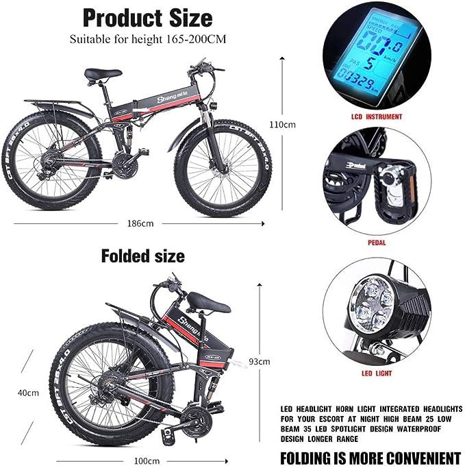 Skyzzie Bicicleta de Eléctrica Montaña Plegables 26