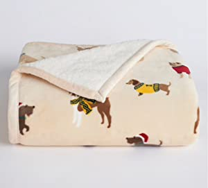 Cuddl Duds Sherpa Fleece Plush Throw (Dogs)
