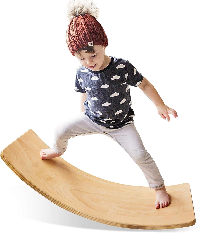 HAN-MM Wooden Wobble Balance Board Waldorf Toys Balance Board Kid Yoga Board Curvy Board - Wooden Rocker Board 35 Inch Kid Size (Natural)