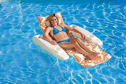 Excellent Poolmaster Swimming Pool Adjustable Floating Chaise Lounge Royal Hawaiian Tangerine Ocoug Best Dining Table And Chair Ideas Images Ocougorg