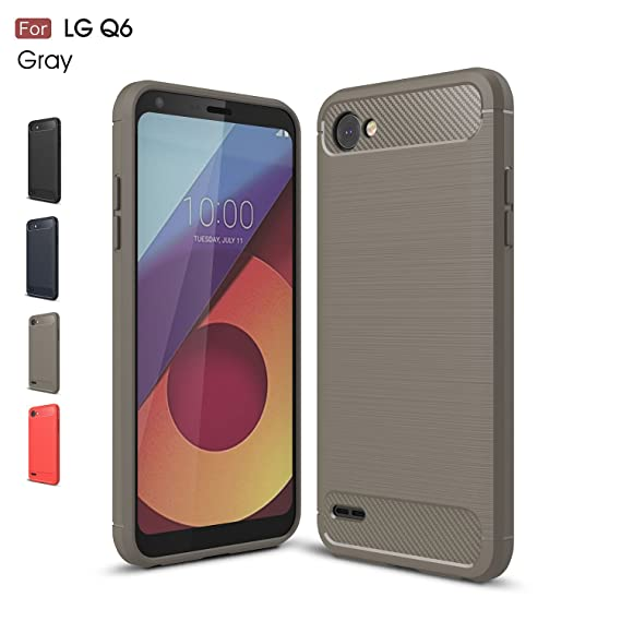 online store 1a8c5 7a6aa LG Q6 Case, LG G6 Mini Case, LG Q6 Plus Case, Wellci Soft Silicon Luxury  Brushed Case with Texture Carbon Fiber Design Protection Cover for LG Q6 /  LG ...