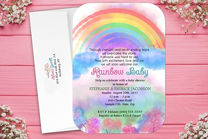 Amazon Com Rainbow Baby Shower Invites Invitations Quantity Of 15