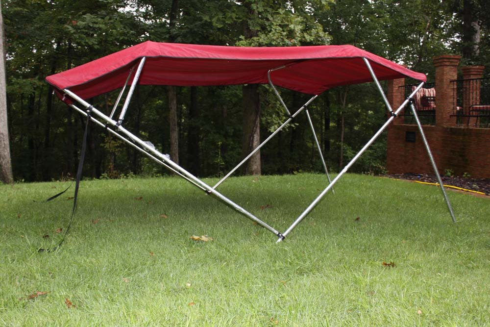 Canopy 54 High Vortex Burgundy Pontoon//Deck Boat 4 Bow Bimini Top 12 Long 91-96 Wide Frame Complete Kit and Hardware 1 to 4 Business Day DELIVERY