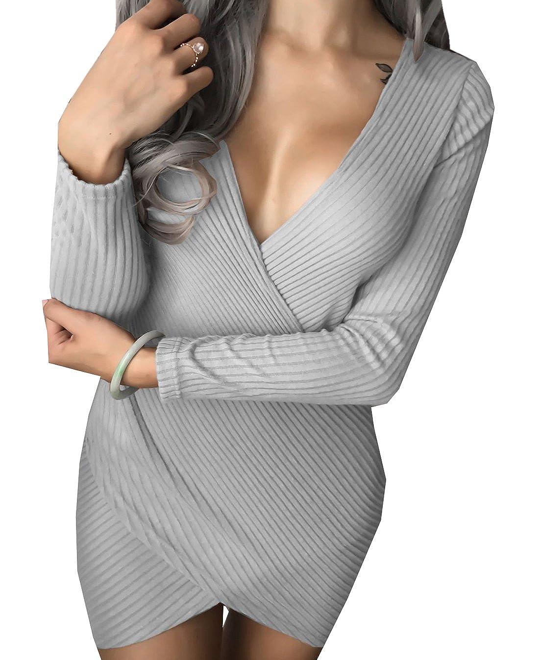 02ba599a6 OUFour Primavera y Otoño Mujeres Irregular Mini Vestidos Moda Cuello V  Profundo Manga Larga Vestidos de Cóctel Fiesta Apretado Paquete de Cadera Vestido  de ...