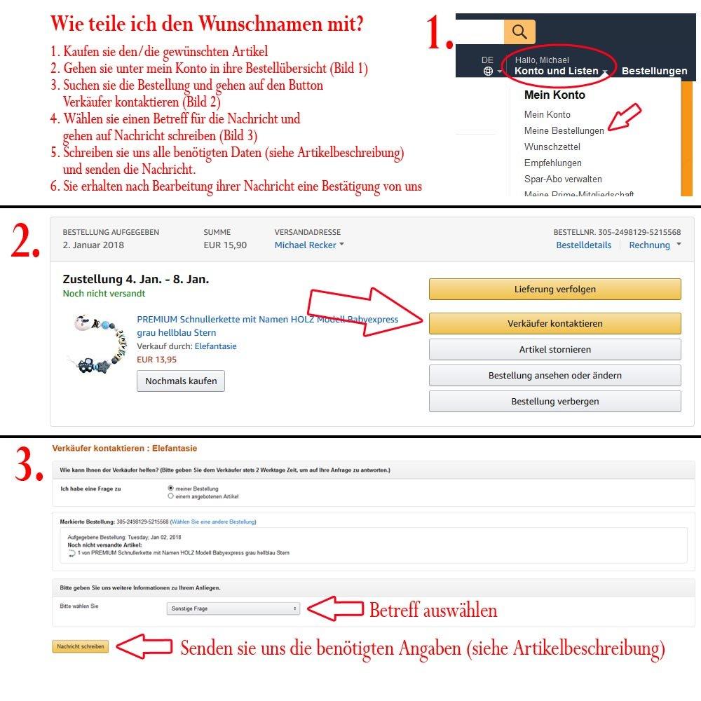 Elefantasie Premium Greifling mit Namen Holz Rassel Modell Eule Herz gr/ün Blau
