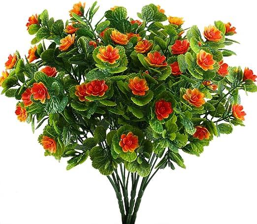 NAHUAA 4PCS de Flores Artificiales Ramo Flores para Exterior Interior Jardinera Fiesta Maceta Balcon Primavera para Boda Fiesta Hogar Jard/ín Decoraci/ón DIY Mesa