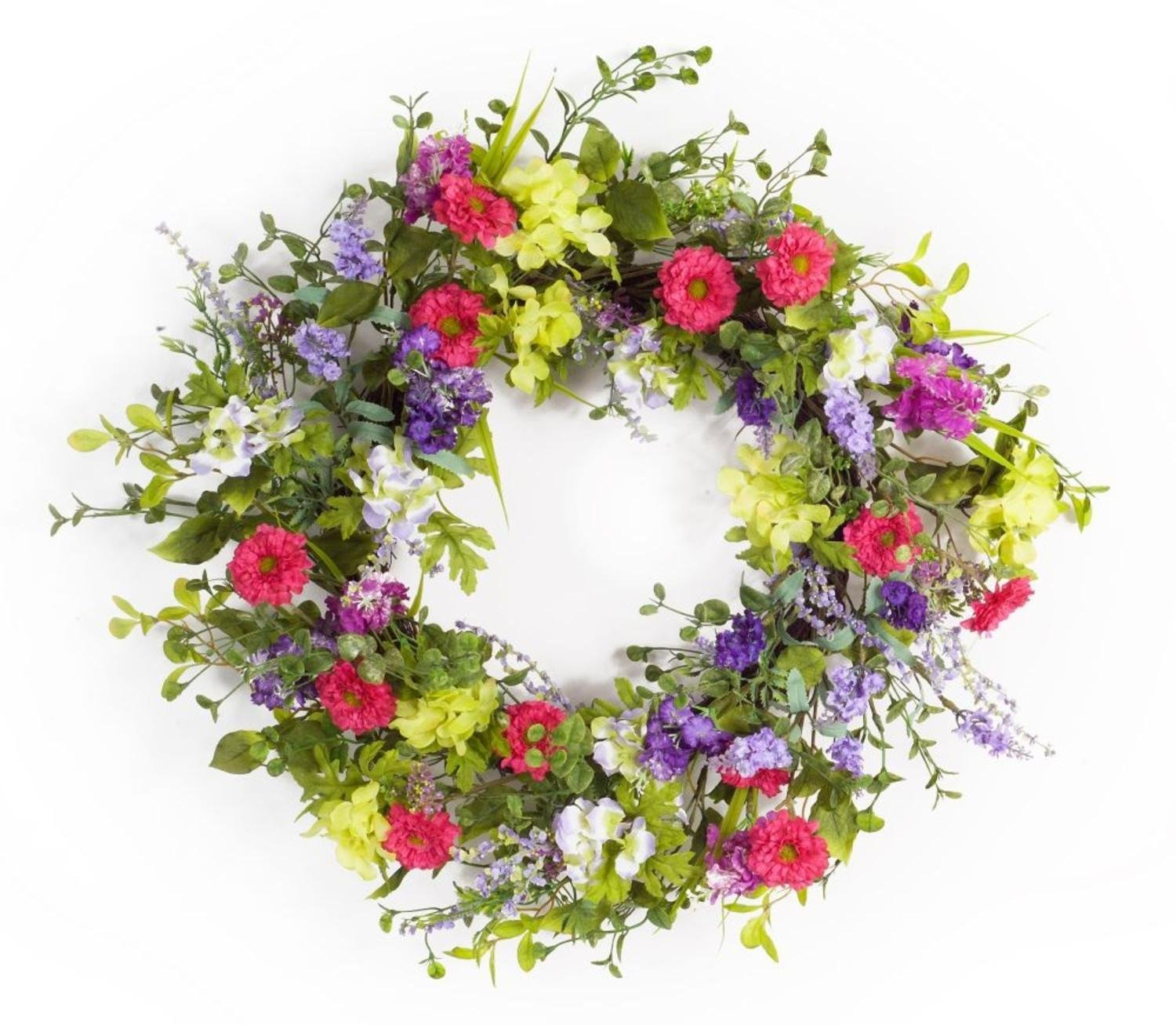 """Melrose Pack of 2 Spring Purple, Pink and Green Artificial Mixed Floral Wreath 24"""""""