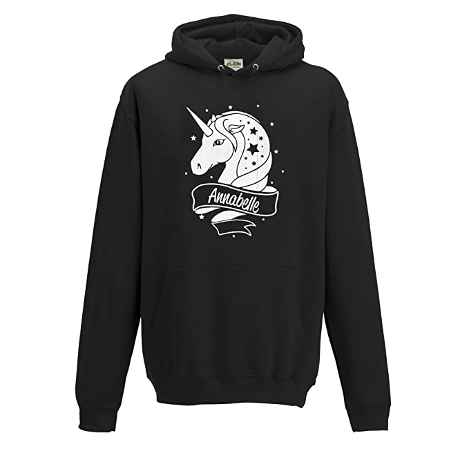 [ Kids ] Personalised Unicorn White Glitter Hoodie Choose Your Name and Colour