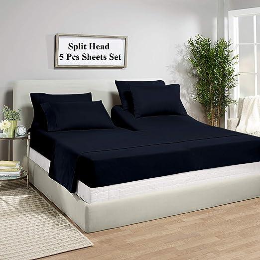All Size 1000 TC 100/% Pima Cotton Navy Blue Solid 5 PCs Split Bed Sheet Set