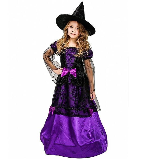 Amazon.com: Vestido de bruja místico de Halloween para niñas ...