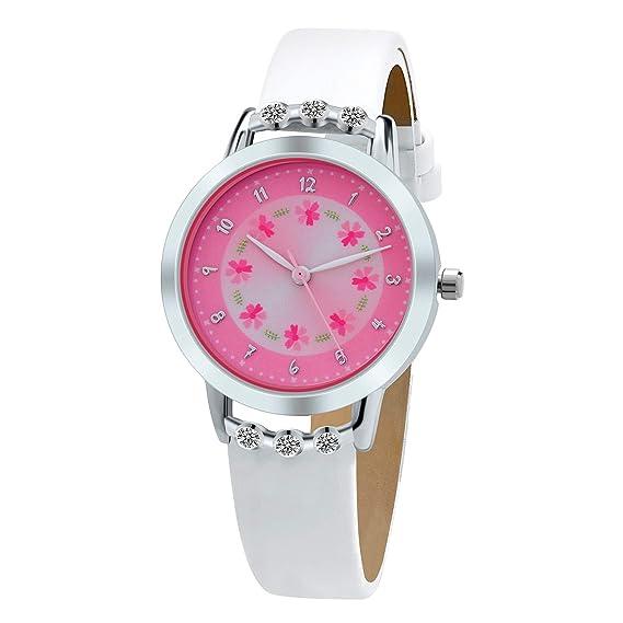 5d3363891 Girls Watches,Flowers Diamond Wrist Watch PU Leather Band Analog Quartz  Cute Waterproof Watches for