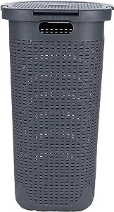 Mind Reader Basket Laundry Hamper with Cutout Handles, Washing Bin, Dirty Clothes Storage, Bathroom, Bedroom, Closet, 50 Liter, Gray
