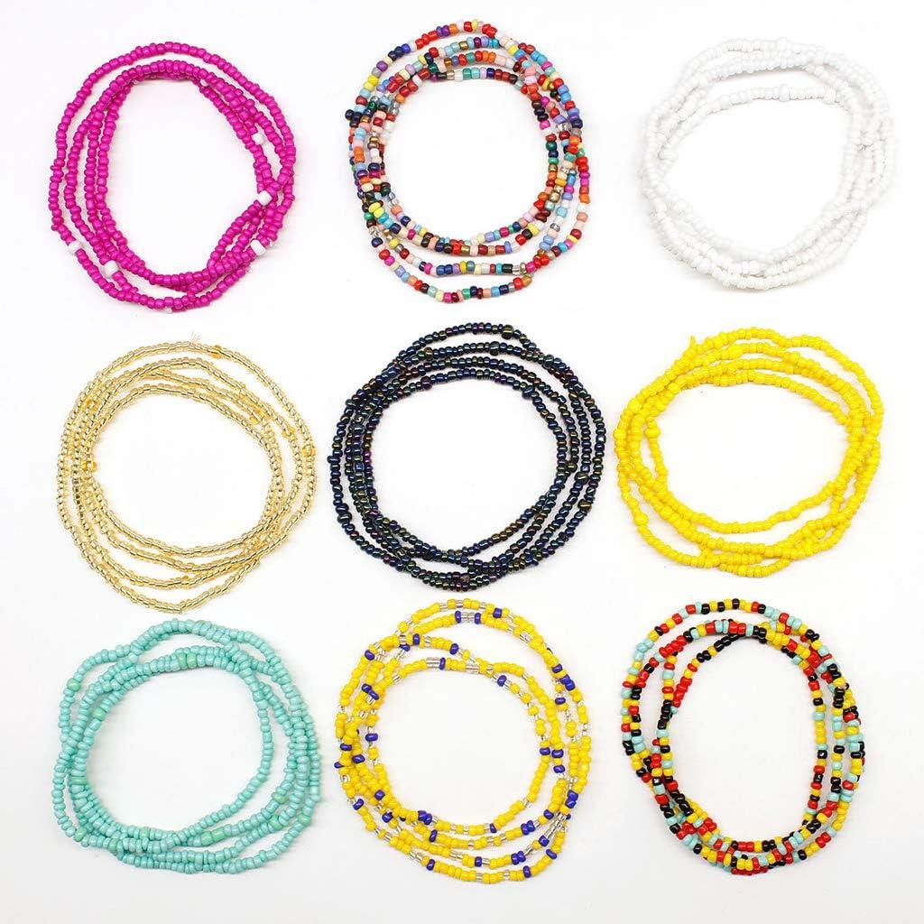 Qirun Pulseras elásticas Multicapa de 9 Colores, Cuentas de Semillas, Cadena de Cintura para el Vientre, joyería para el Cuerpo