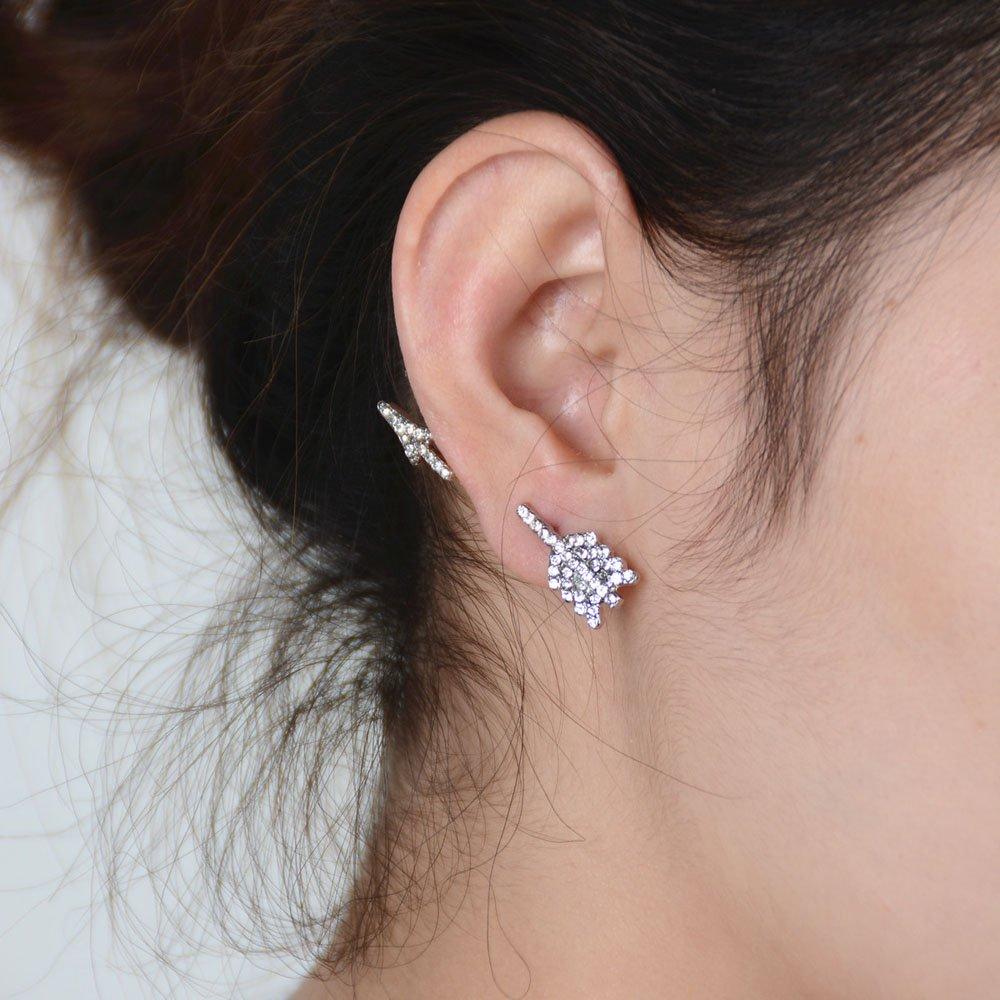 FXmimior Fashion Women Earrings Lucky Crystal Love Jupiter Cupid's Arrow Earrings Jewelry (Silver)