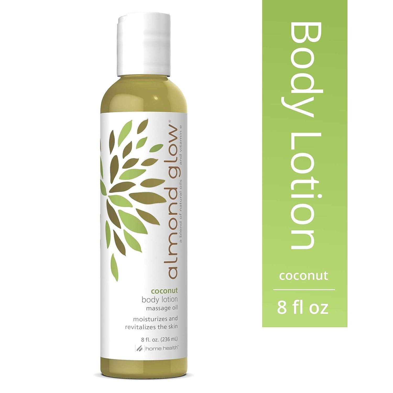 Home Health Almond Glow Coconut Body Lotion - 8 fl oz - Skin Moisturizer & Massage Oil, Peanut, Olive & Lanolin Oils Plus Vitamin E- Non-GMO, Paraben-Free, Vegetarian