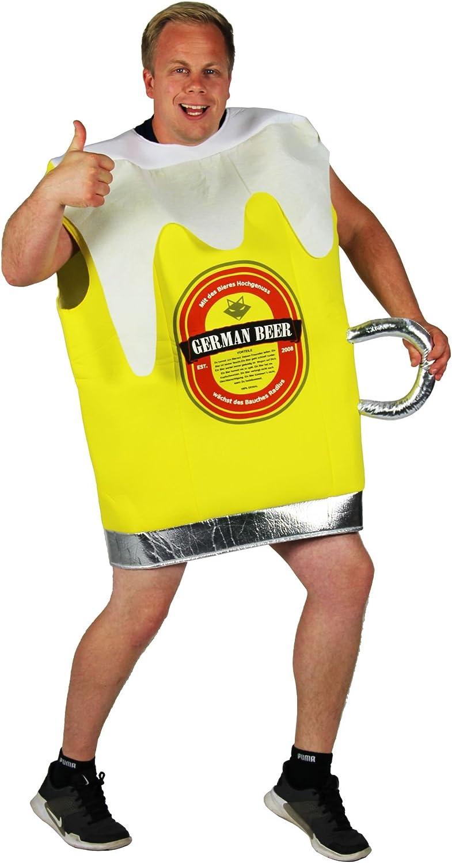 FOXXEO Disfraz de Vaso de Cerveza Amarillo para los Hombres de ...