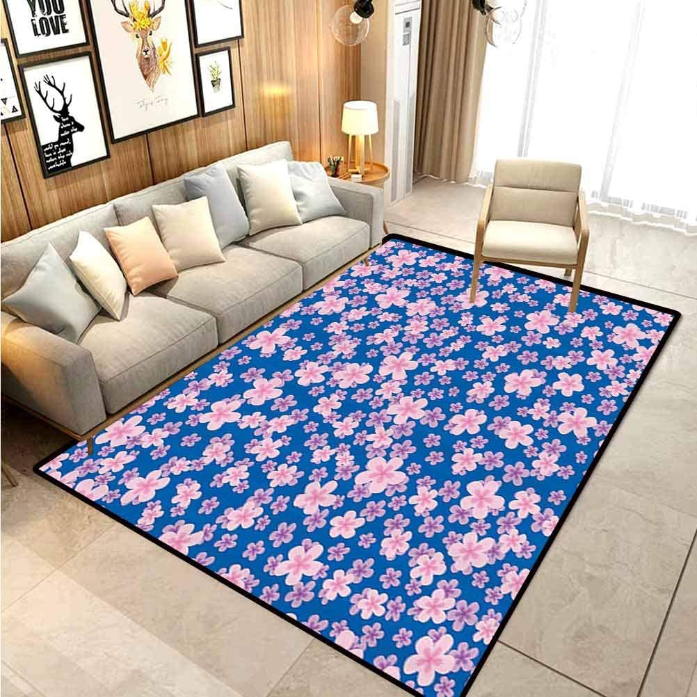 Amazon Com House Decor Collection Camper Rugs Outdoor Floor Rugs For Living Room Floral Classic Fabric Design Style Art Bloom Natural Lawn Backyard Cheering Image For Children Bedroom Home Decor Nursery Rug Blue