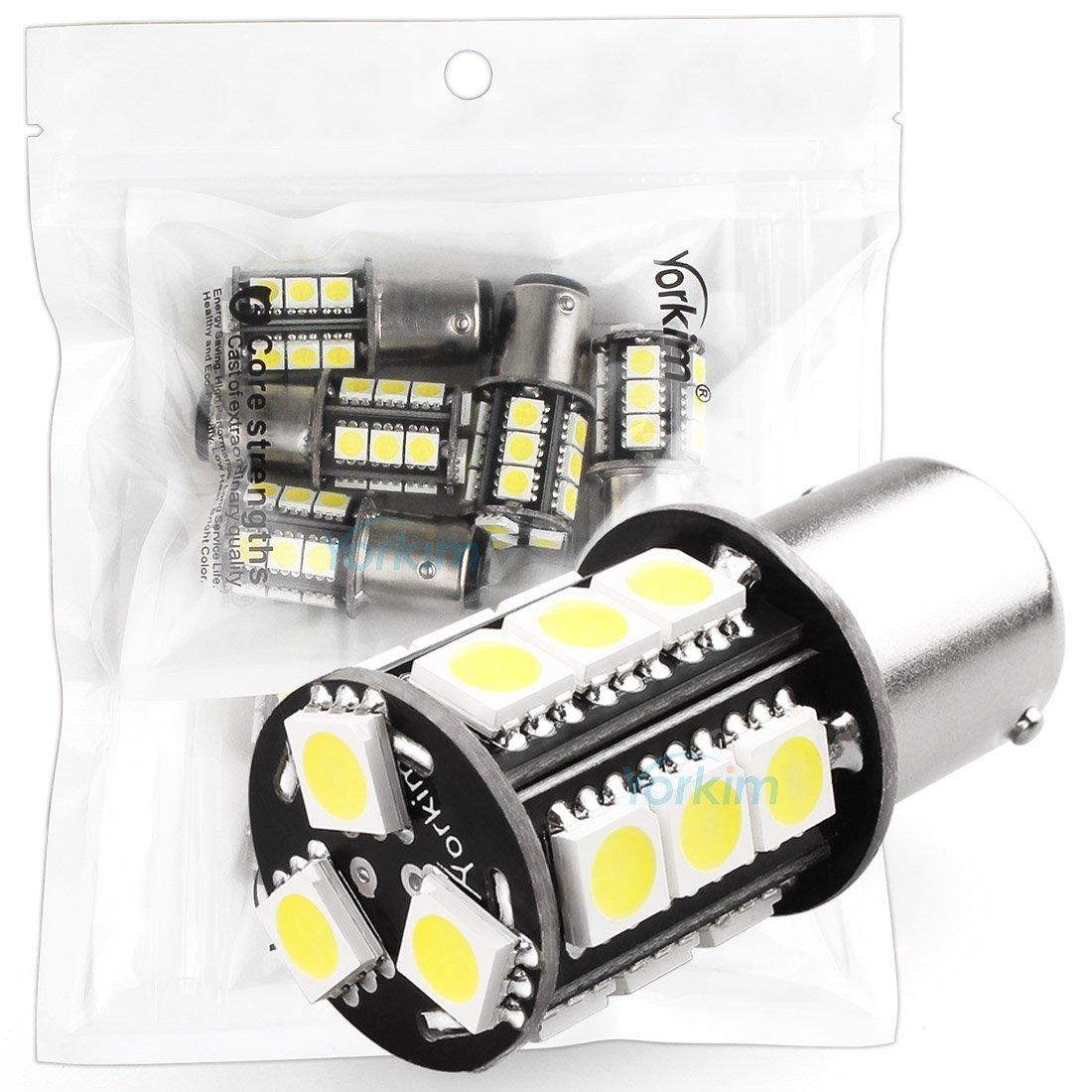 Yorkim 1157 LED Light Bulbs 18-SMD Super Bright White Lamps For LED Brake Lights, LED Tail Lights, LED Backup Reverse Lights, 2057 LED Bulb, 7528 LED Bulbs – Pack of 2