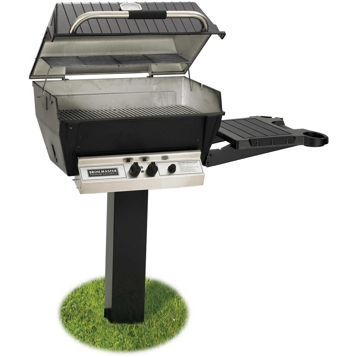 living just grillin shelves lid up pedestal open coyote outdoor product on grill electric