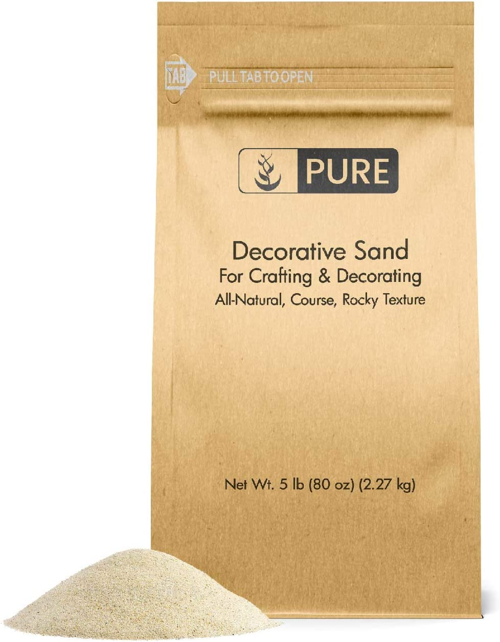 Natural Decorative Sand (5 lbs) by Pure, Real Sand for Use in Crafts, Decor, Vase Filler, and More!