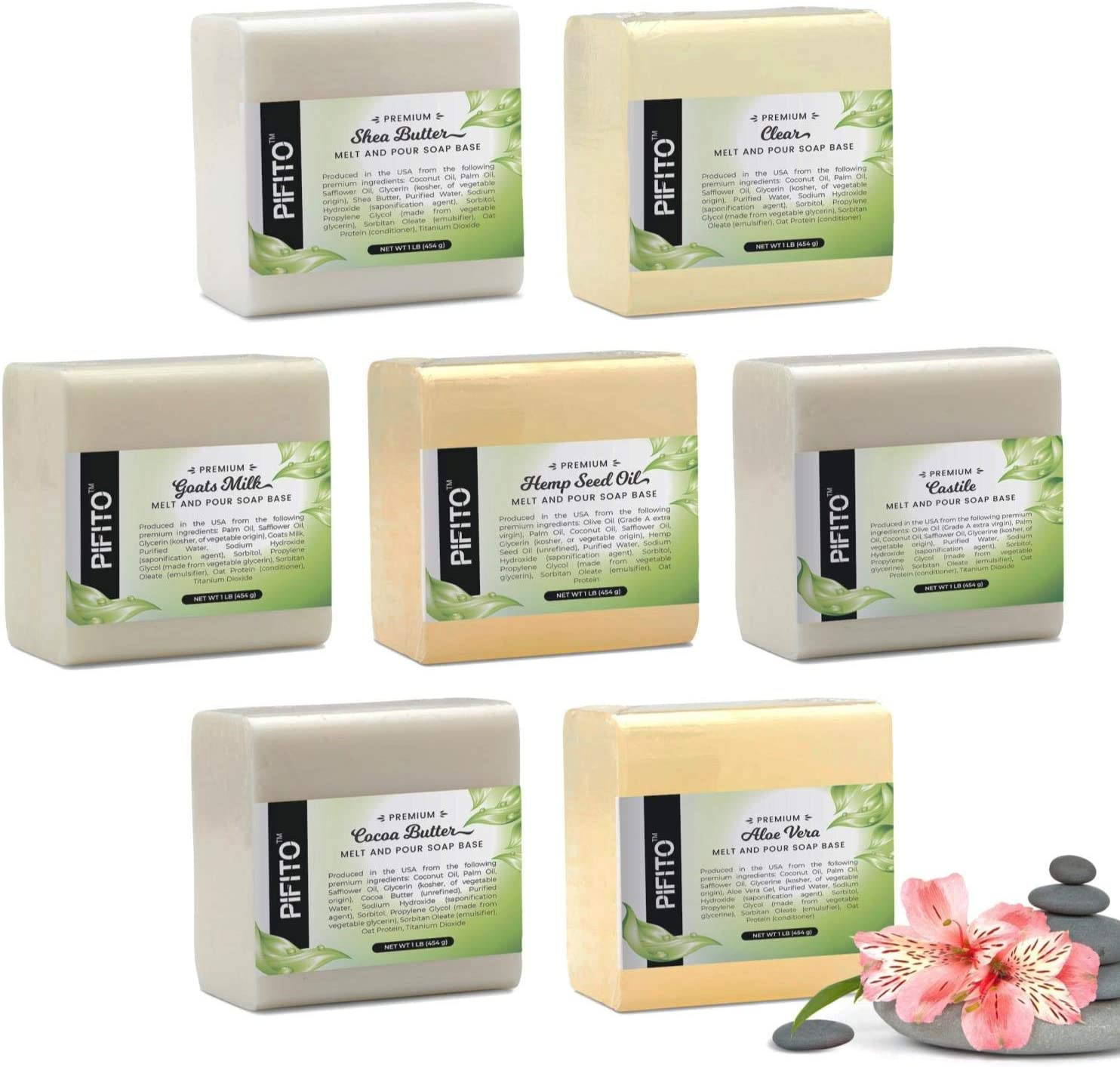 Pifito Melt and Pour Soap Base Sampler (7 lbs) │ Assortment of 7 Bases (1lb ea) │ Hemp Seed Oil, Clear, Aloe Vera, Goats Milk, Cocoa Butter, Shea Butter, Castile │ Glycerin Soap Making Supplies: Arts, Crafts & Sewing