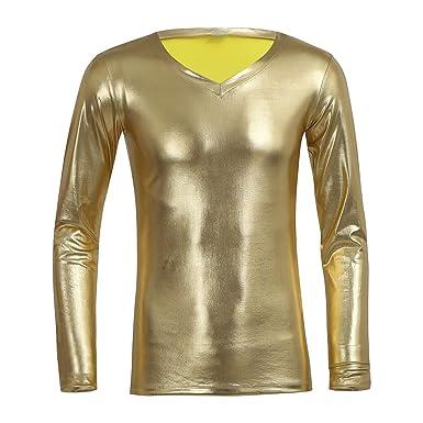 Iixpin Manches Longues Cuir Verni Brillant Oixpzukt En Homme Shirt T À k8OnwP0