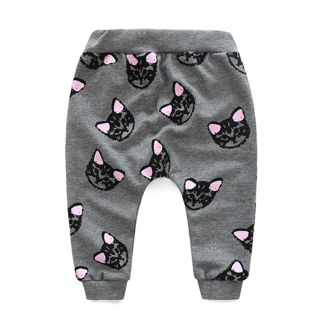Tenworld Baby Girl 2pcs Set Outfit Cats Print Long Sleeve Tracksuit Long Pants