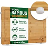 """EXTRA LARGE Bamboo Cutting Board for Kitchen with Silicone Feet - Wide Groove on one side reversible with 2 Compartments for different foods - (16"""" x 12"""" x 0.8"""")"""