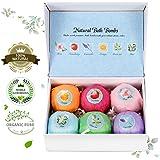 Bath Bomb Gift Set, LuckyFine 6 Pcs Natural Handmade Bath Bomb Kit, Spa Bubble Bomb Moisturizing Dry Skin Relaxation Kit for Women