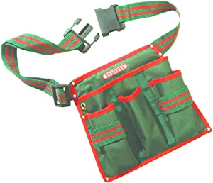 Bosmere N543 4-Pocket Pruner Tool Belt, Fits Waist from 32-Inch to 44-Inch, Green with Red Piping