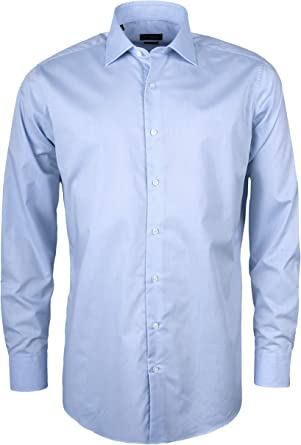 Roy Robson Camisa de algodón para hombre de corte ajustado, de manga larga, fácil de planchar, elástica natural