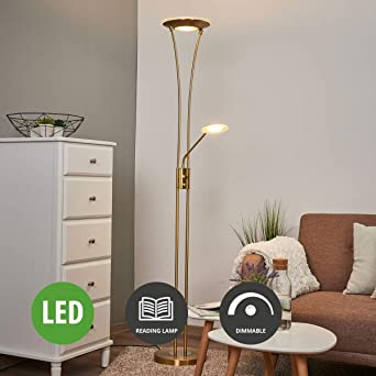 Lampenwelt Led Stehlampe Eda Dimmbar Mit Leselampe Modern In