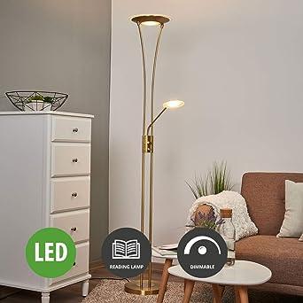 Lampenwelt Led Stehlampe Eda Dimmbar Mit Leselampe Modern In Messing Aus Metall Ua Fur Wohnzimmer Esszimmer A Inkl Leuchtmittel