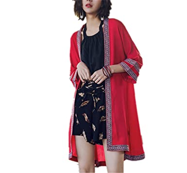 QIUHUAXIANG Long Cardigan Summer Embroidery Blouse With Sleeve Fashion Casual Tops