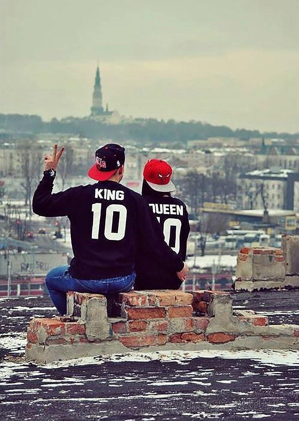 Ziwater Pullover King Queen P/ärchen Sweatshirt 2er Set Partner als Geschenk Valentinstag Symbolische Liebe T-Shirt