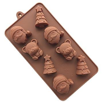 Siempre Tu Chef Santa Claus oso de silicona chocolate candy moldes Mini Cupcake Moldes para Cupcakes, colores al azar.: Amazon.es: Hogar