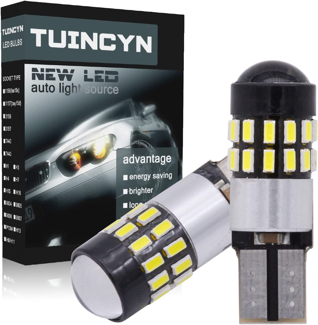 TUINCYN T10 2825 194 W5W 168 192 175 912 921 LED Bulb 2.7W 300 Lumens CanBus Erro Free 3014 30SMD Backup Reverse Tail Lights Parking License Plate LED Bulbs DC 12V White 4-Pack