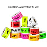 """Tape Logic Pre-Printed Months of the Year Inventory Rectangle Label, Legend""""AUG"""", Fluorescent Pink"""