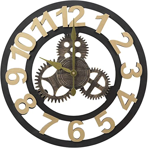 Adeco Clock Retro Rustic Vintage Wooden Gear Noiseless Wall Clock, Wooden Decoration Roman Numerals 15 Number Gold