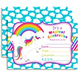 """Rainbow Unicorn Birthday Party Invitations, Ten 5""""x7"""" Fill In Cards with 10 White Envelopes by AmandaCreation"""