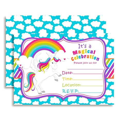 Amazon Rainbow Unicorn Birthday Party Invitations 20 5x7 Fill In Cards With Twenty White Envelopes By AmandaCreation Toys Games