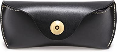 Large Genuine Soft Black Leather Slip In Glasses Case