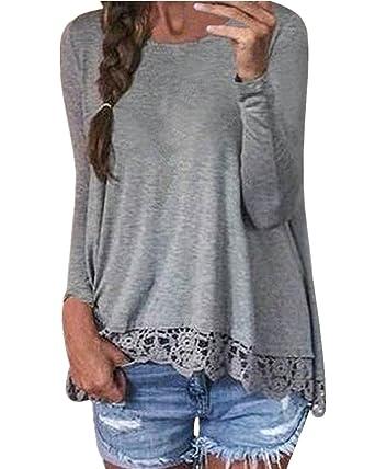vendita economica grande sconto per goditi il prezzo più basso ZANZEA Magliette Donna T-Shirt Magliette Manica Lunga Pizzo Nuovo Maglie  Casual Elegante Girocollo Top
