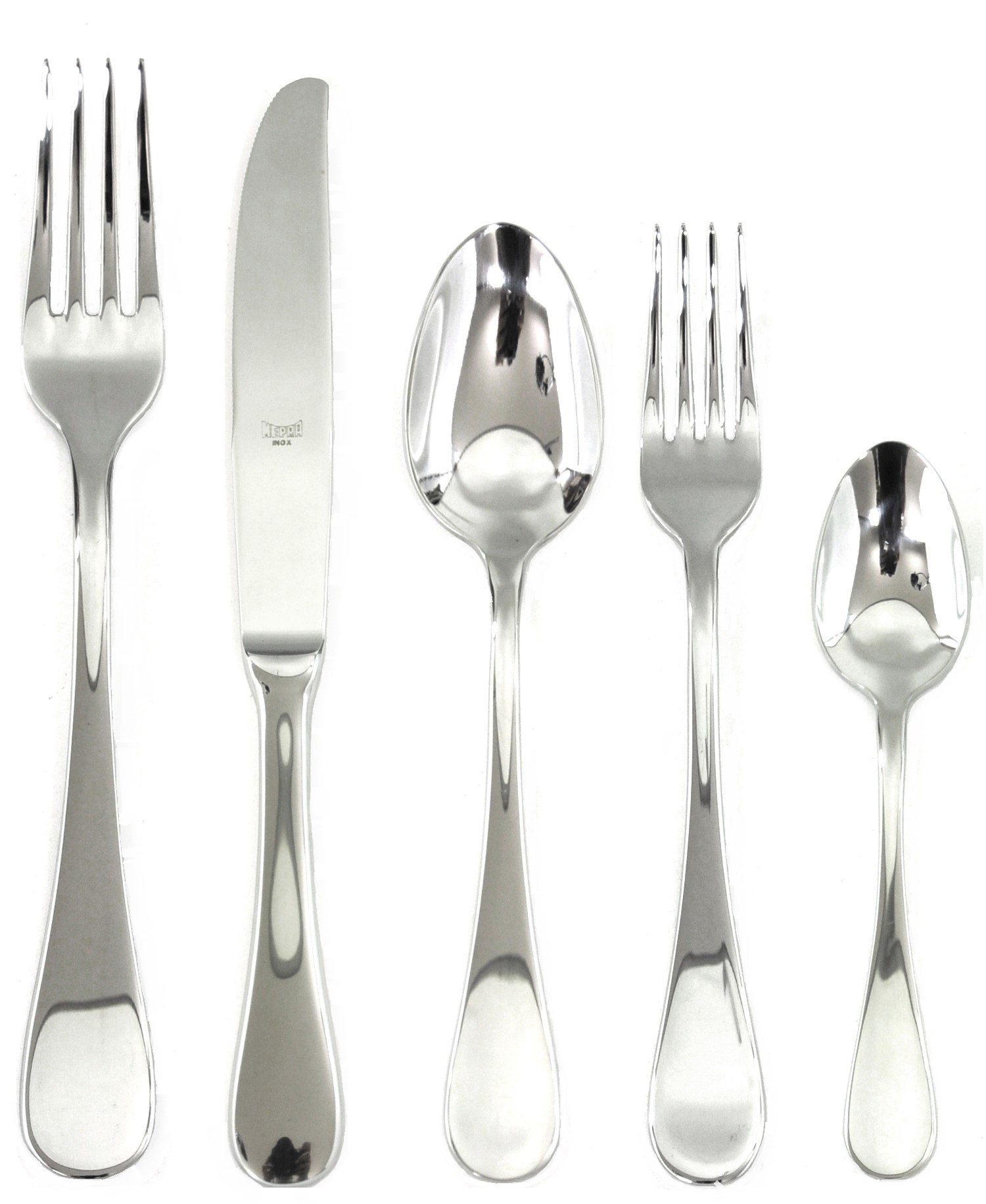 Mepra PCS Brescia 5 Piece Place Setting, Stainless Steel, Silver - DISHWASHER SAFE FLATWARE: Mepra cutlery is designed to be durable and completely dishwasher safe. This cutlery is resistant to rust, corrosion, fading, tarnishing, and chipping to ensure a long-lasting flatware set. ITALIAN-MADE DESIGNS: Mepra is known for innovation in design, thanks to lucrative collaborations with important Italian designers such as Angelo Mangiarotti. You can now easily bring a piece of Made in Italy history to your table. EXPERIENCE SOMETHING SPECIAL: The Brescia flatware collection features cutlery with classic teardrop shape and finish on the handle. The cutlery is crafted to be in addition to your table setting. - kitchen-tabletop, kitchen-dining-room, flatware - 71sLHQgHjeL -