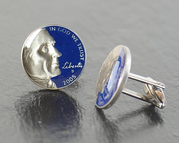 2005 Thomas Jefferson Nickel Cufflinks American Liberty 5 Cents Coin