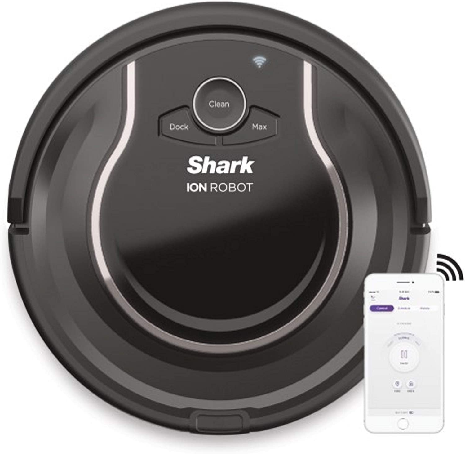 Shark ION Robot Vacuum R75 with Wi-Fi and Voice Control, 0.45 Quarts, in Smoke and Ash