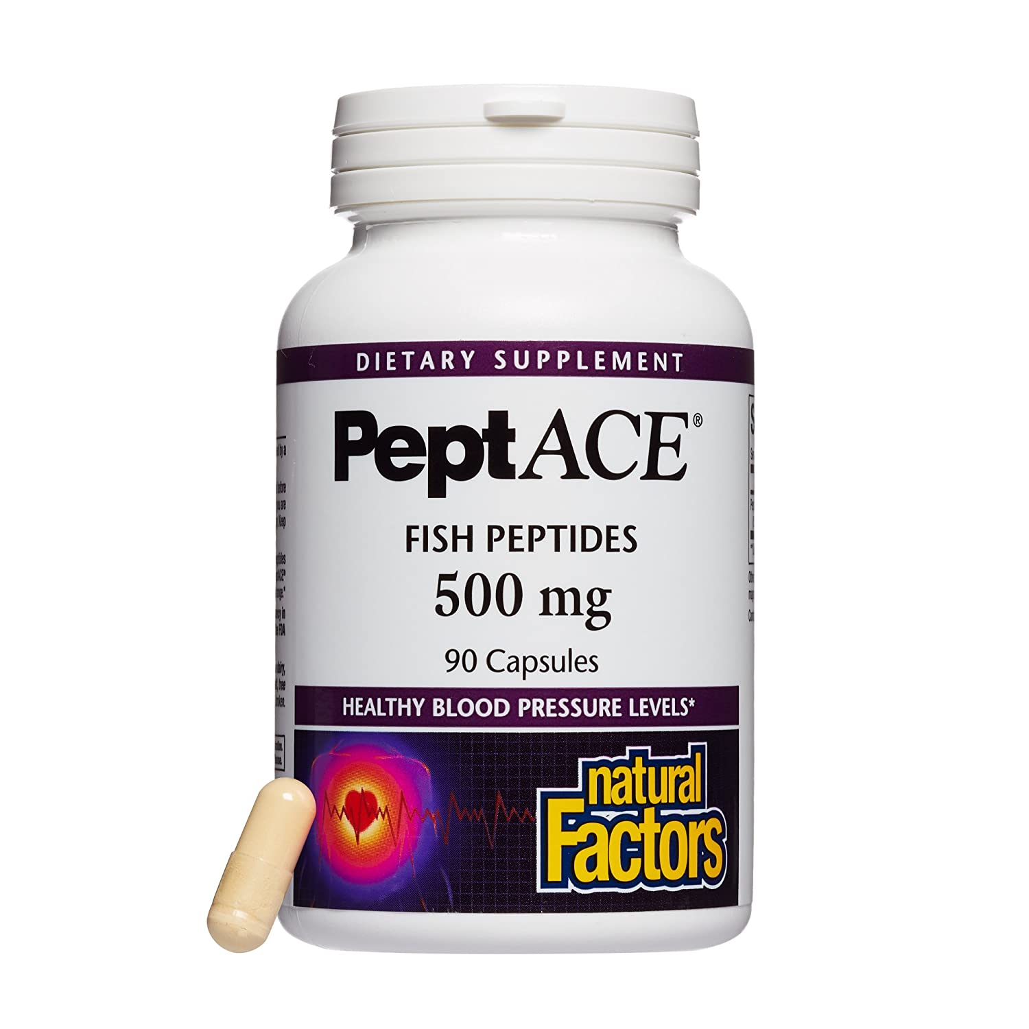 Natural Factors, PeptACE Fish Peptides, Cardiovascular Support for Healthy Blood Pressure Levels Already within the Normal Range, Gluten Free, 90 capsules (90 servings)