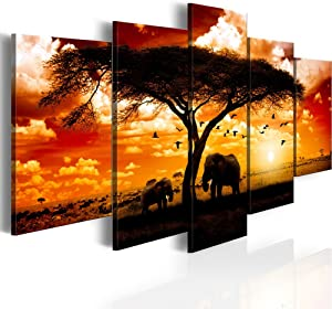 "Konda Art 5 Panel African Elephant Painting on Canvas Wall Decor Art Animal Picture for Living Room Landscape Sunset Artwork Framed and Ready to hang (Flock madarak egész szavanna, 40""x 20"")"