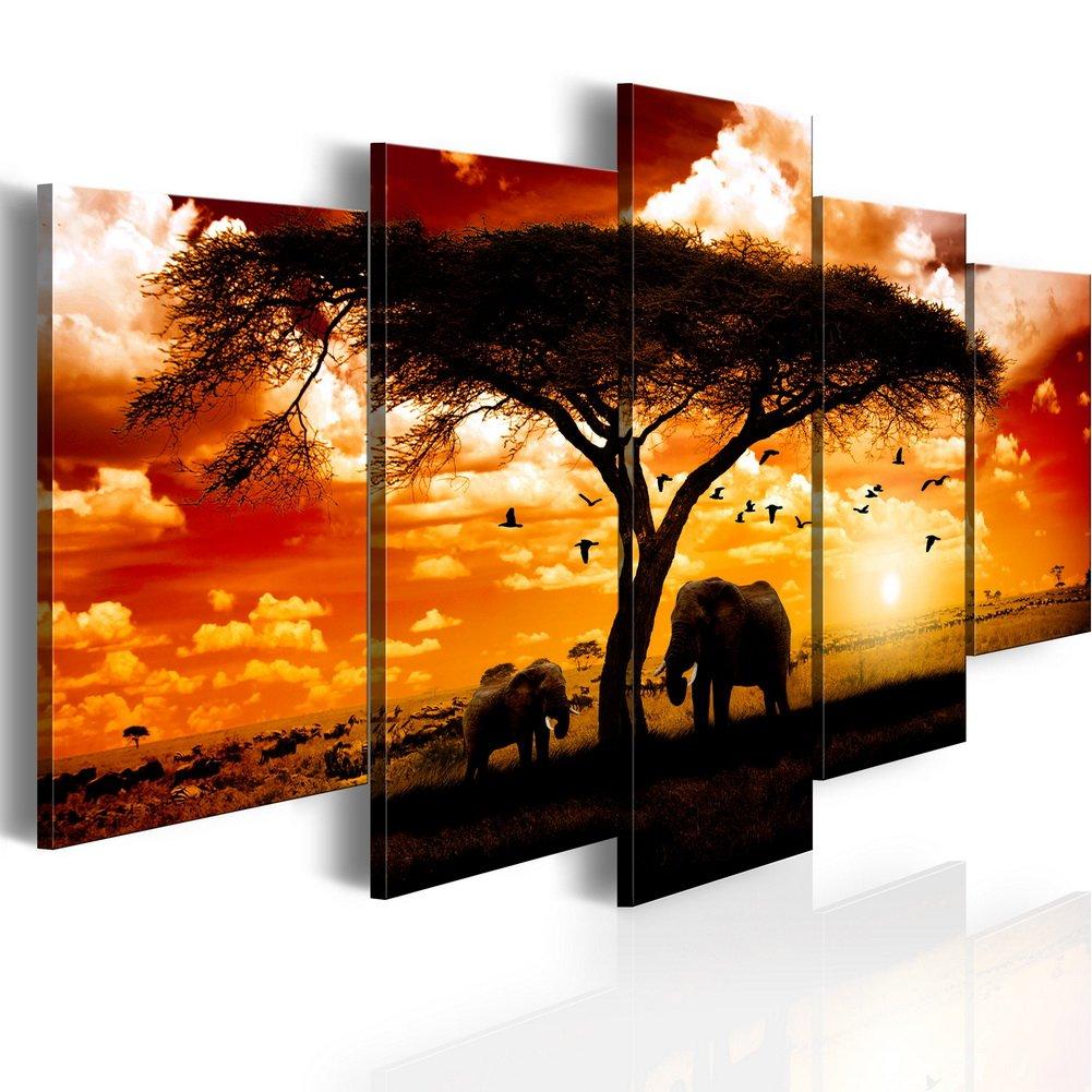 Konda Art 5 Panel African Elephant Painting on Canvas Wall Decor Art Animal Picture for Living Room Landscape Sunset Artwork Framed and Ready to Hang (Flock madarak egész szavanna, 40''x 20'')