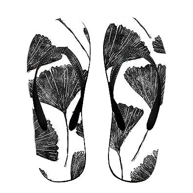 61e92cb8f224 Unisex Sandy Flat Funny Flip Flops Thong Sandals Black Leaves Slipper Top  Mat